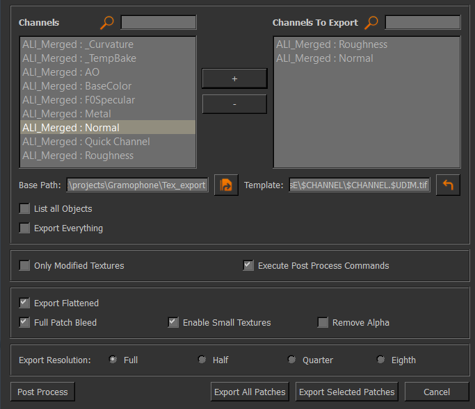 export custom channel selection